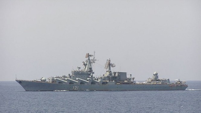 Tuần dương hạm Moscow của Nga đang bảo vệ vùng trời tỉnh Latakia, Syria - Ảnh: Hải quân Nga