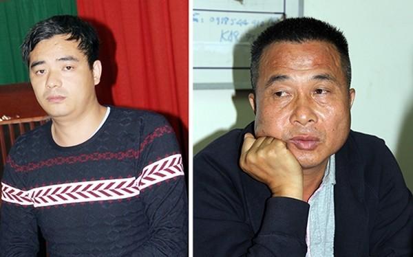 TianJin (trái) và Ye Guorong bị công an tạm giữ để phục vụ điều tra. Ảnh: D.T.