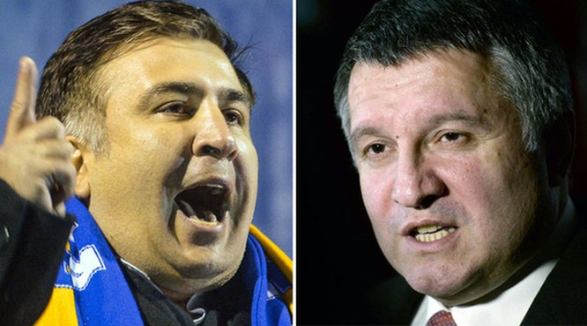 Ông Mikheil Saakashvili (trái) và Arsen Avakov (phải). Ảnh: Sputnik