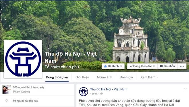 Hà Nội sẽ chủ động cung cấp thông tin qua mạng xã hội. Ảnh chụp màn hình Facebook.