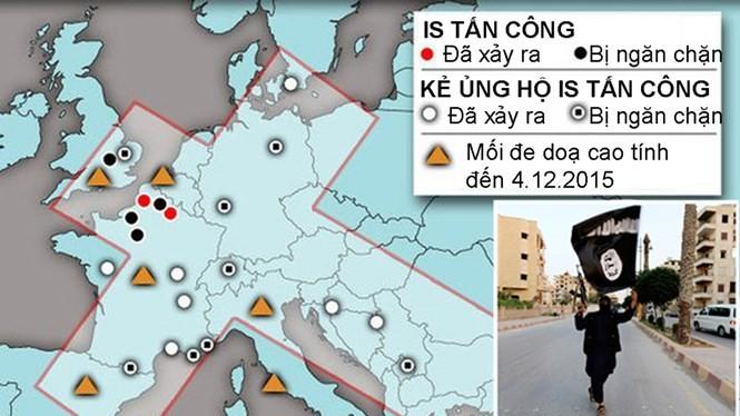 Bản đồ các địa điểm tại châu Âu đã bị tổ chức Nhà nước Hồi giáo (IS) tấn công hoặc lên kế hoạch khủng bố nhưng thất bại từ tháng 1.2014 - 12.2015 - Đồ hoạ: ISW/Express