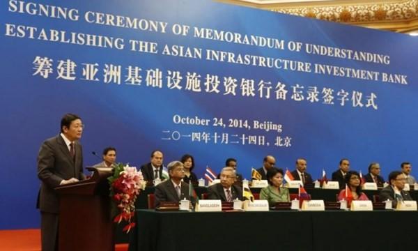 Buổi lễ ký kết điều lệ thành lập AIIB tại Bắc Kinh hôm 24.11