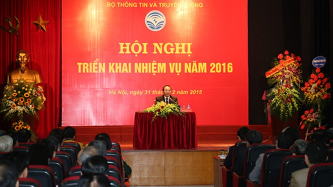 Hội nghị triển khai năm 2016 của Bộ TT&TT diễn ra sáng 31/12/2015. Ảnh: Thái Anh.