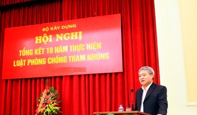Thứ trưởng Bùi Phạm Khánh chủ trì Hội nghị tổng kết 10 năm thực hiện luật phòng chống tham nhũng, Bộ Xây dựng. Ảnh: BXD.
