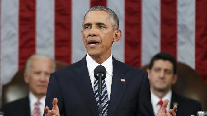 Ông Obama đọc bài phát biểu thông điệp liên bang - Ảnh: Reuters