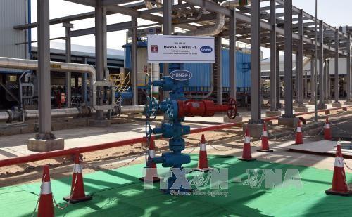 Giếng dầu Mangla số 1 tại nhà máy khai thác dầu khí Cairn tại Rajasthan, Ấn Độ. Ảnh: AFP/TTXVN
