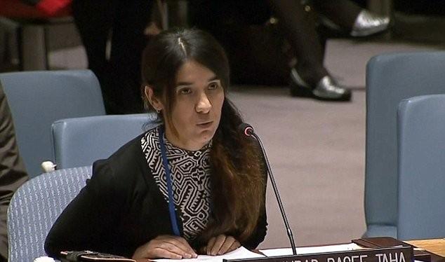 Nữ nạn nhân Nadia Murad Basee Taha kể lại thảm cảnh kinh hoàng cô trải qua tại Hội đồng Bảo an LHQ - Ảnh: UNTV