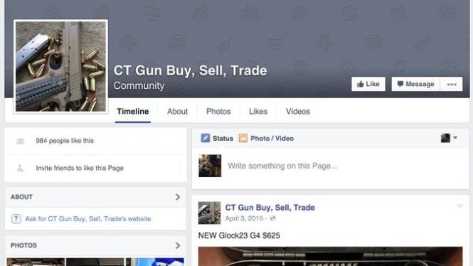 Ảnh chụp lại từ màn hình của một trang tài khoản Facebook rao bán súng - Ảnh: New York Times