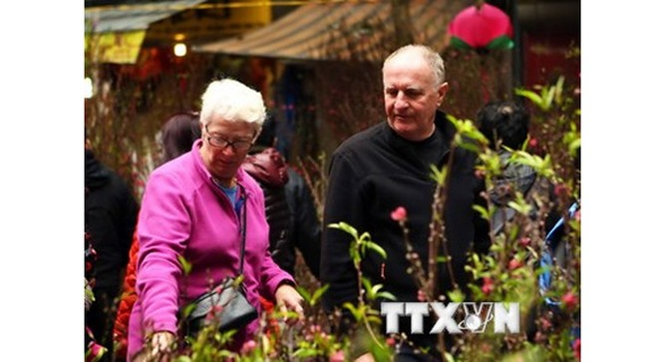 Chợ hoa Hàng Lược thu hút khách nước ngoài đến ngắm và mua hoa trong dịp Tết. (Ảnh: Tuấn Anh/TTXVN)