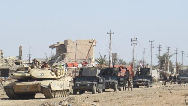 Quân đội Iraq tiến vào giải phóng Jwaibah, ngoại ô phía Đông Ramadi, ngày 7/2. (Nguồn: AFP)