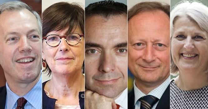 Từ trái sang, các đại sứ: Ted Osius, Jehanne Roccas, Jean Noël Poirier, Bruno Angelet và Charlotte Laursen.