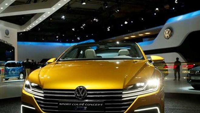 Một mẫu xe của hãng Volkswagen tại triển lãm Motor châu Âu ở thủ đô Brussels, Bỉ, ngày 12/1 vừa qua. (Ảnh: THX/TTXVN)