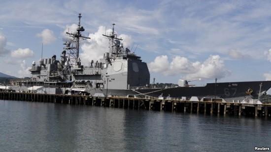 Tàu Mỹ USS Shiloh đóng tại căn cứ hải quân vịnh Subic, phía Bắc thủ đô Manila, Philippines. Ảnh: Reuters