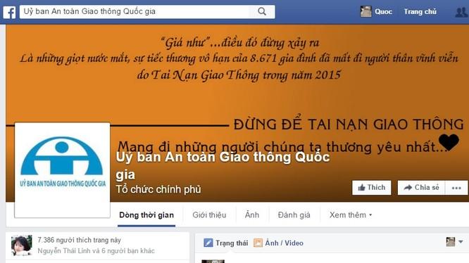 Facebook của Ủy ban An toàn Giao thông Quốc gia