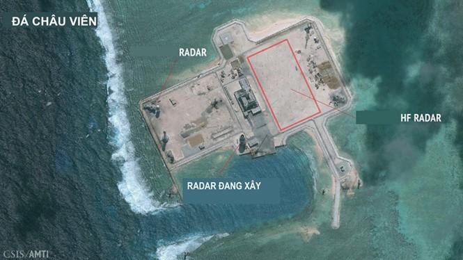 Hình ảnh về hệ thống radar mà Trung Quốc có thể đang xây dựng trên Đá Châu Viên. Ảnh vệ tinh chụp ngày 24.1.2016 - Ảnh: CSIS/Digital Globe