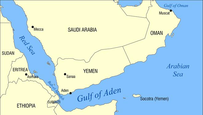 Vị trí chiến lược của Djibouti (nằm giữa Eritrea và Somalia) trong khu vực Vịnh Aden và Đông Bắc Phi. Ảnh: Wikipedia