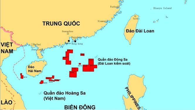 Vị trí các lô dầu khí mà Trung Quốc kêu gọi thăm dò khai thác ở Biển Đông, theo CNOOC