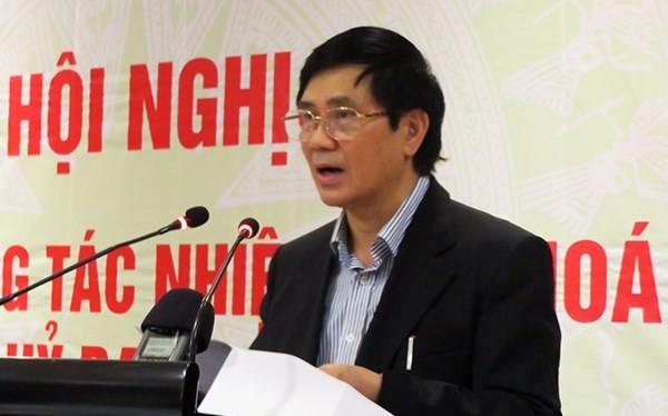 TS. Nguyễn Văn Hiện phát biểu tại hội nghị tổng kết công tác của Ủy ban Tư pháp nhiệm kỳ Quốc hội khóa XIII (2011 – 2016) tổ chức tại Đà Nẵng ngày 3/3 (Ảnh: HC)