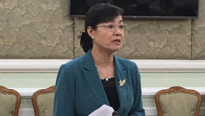 Bà Nguyễn Thị Quyết Tâm – Chủ tịch Ủy ban bầu cử TP HCM phát biểu tại buổi họp. Ảnh: Tá Lâm.