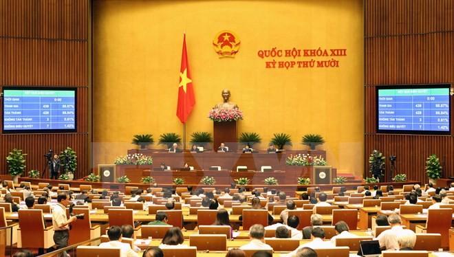 Toàn cảnh kỳ họp thứ 10 của Quốc hội khóa XIII. (Nguồn: TTXVN)