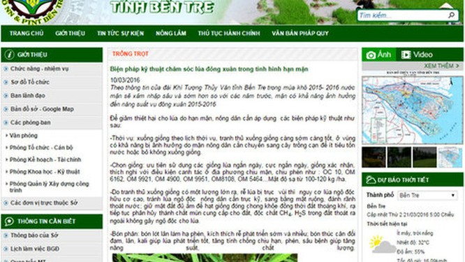 """Màn hình chụp lại website Sở Nông nghiệp và phát triển nông thôn Bến Tre ngày 21-3, với bản tin """"Biện pháp kỹ thuật chăm sóc lúa đông xuân trong tình hình hạn mặn"""", khi mà hầu hết diện tích lúa của Bến Tre đã mất trắng."""