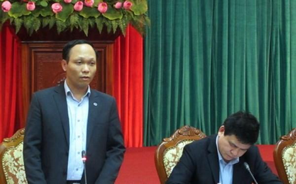 Phó Chánh Văn phòng UBND thành phố Hà Nội Lưu Quang Huy thông tin tại họp báo. (Nguồn: HNP)
