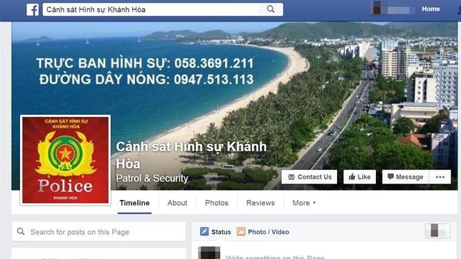 Giao diện trang Facebook Cảnh sát Hình sự Khánh Hòa.