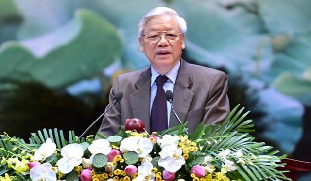 Tổng Bí thư Nguyễn Phú Trọng phát biểu khai mạc hội nghị (Ảnh: N.B)