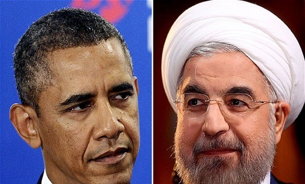 Tổng thống Mỹ Barack Obama và Tổng thống Iran Hassan Rouhani. (Nguồn: Telegraph.co.uk)