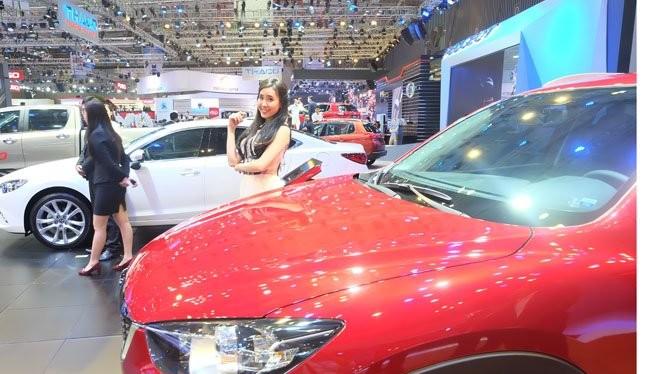 Xe Mazda được trưng bày tại một triển lãm ô tô ở TPHCM -Ảnh: Quốc Hùng