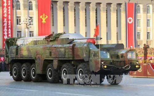 Tên lửa Musudan tham gia lễ duyệt binh ở Bình Nhưỡng tháng 10/2015. Ảnh: Kyodo/TTXVN