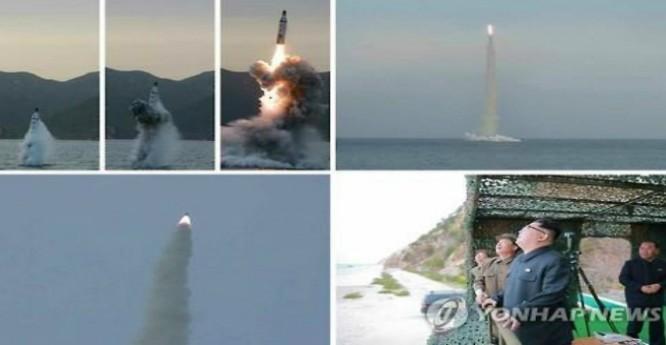 Phía Hàn Quốc cho rằng Triều Tiên đã báo cáo sai sự thật về vụ thử tên lửa đạn đạo từ tàu ngầm hôm 24/4 vừa qua. (Ảnh: Yonhap)