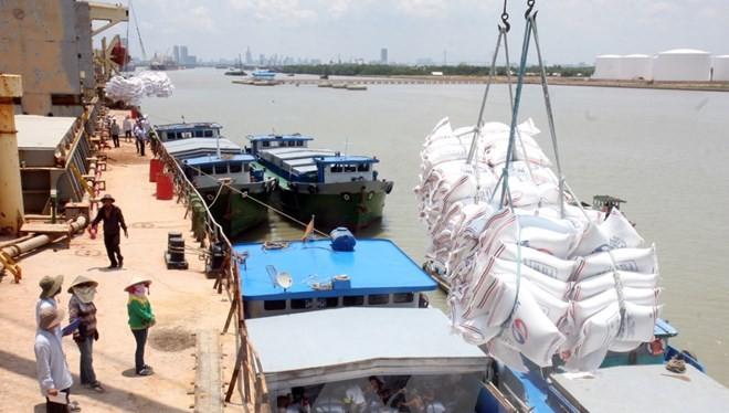 Bốc xếp gạo xuất khẩu tại Cảng Nhà Bè. (Ảnh: Đình Huệ/TTXVN)