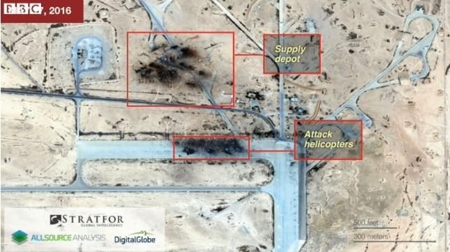 Hình ảnh được cho là ảnh chụp vệ tinh cho thấy kho nhiên liệu và ít nhất 4 trực thăng tấn công Mi-24 của Nga bị hủy diệt (Ảnh: Stratfor/BBC)