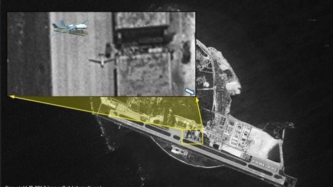 Ảnh vệ tinh cho thấy Trung Quốc điều máy bay không người lái ra đảo Phú Lâm, thuộc quần đảo Hoàng Sa của Việt Nam. Ảnh: ISI