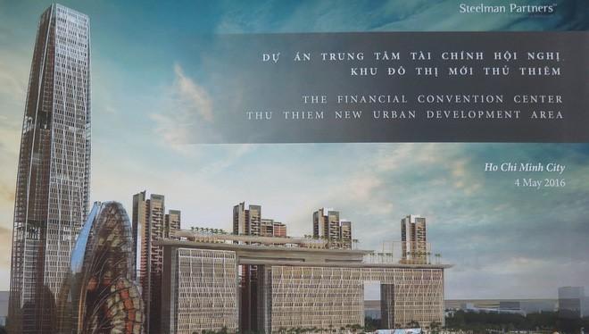 Do khác với quy hoạch tổng thể đã được phê duyệt nên dự án 4 tỷ USD của nhóm các nhà đầu tư Mỹ và Việt Nam chưa thể triển khai. Ảnh: Thiết kế bản vẽ chi tiết Trung tâm tài chính hội nghị TPP.
