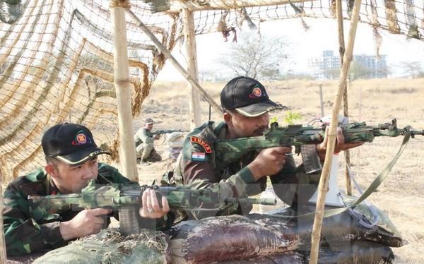 """Việt Nam tham gia diễn tập huấn luyện thực binh kết hợp Hành động mìn nhân đạo và Gìn giữ hòa bình (FTX-2016) mang tên """"FORCE 18"""" diễn ra từ ngày 2-8/3 tại Ấn Độ. (Ảnh: Hồng Pha/TTXVN"""