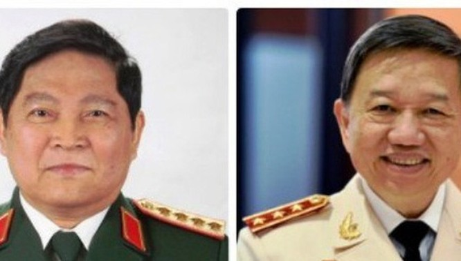 Đại tướng Ngô Xuân Lịch (trái) và Thượng tướng Tô Lâm.