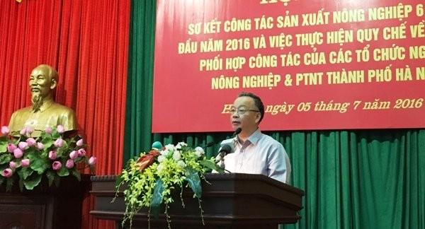 Phó chủ tịch UBND TP Hà Nội Nguyễn Văn Sửu phát biểu tại hội nghị ngày 5/7. Ảnh: hanoi.gov.vn