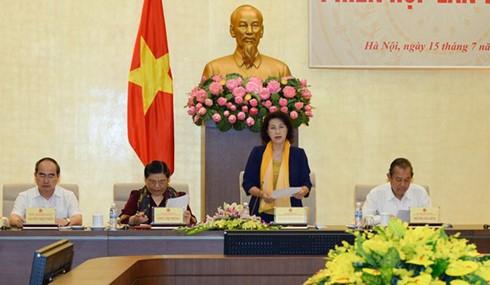 Chủ tịch Quốc hội - Chủ tịch Hội đồng Bầu cử Quốc gia phát biểu tại phiên họp