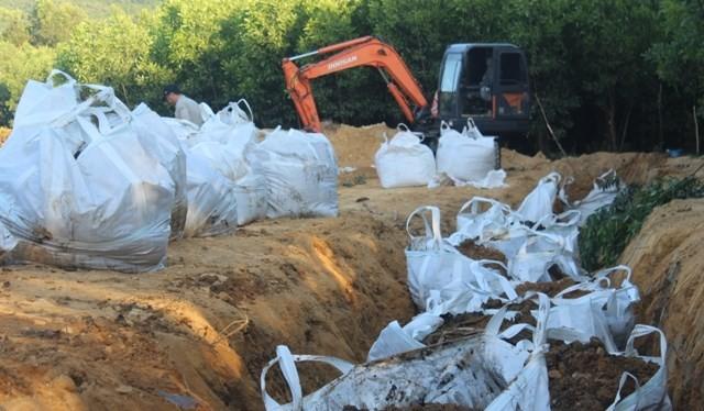Toàn bộ bùn đen bốc trong vườn tràm sẽ được đưa về bãi tập kết Phú Hà tại Kỳ Tân, Kỳ Anh (ảnh:.T.Hoa)