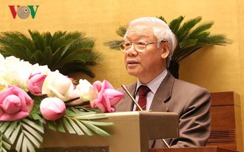 Tổng Bí thư Nguyễn Phú Trọng phát biểu tại Hội nghị (Ảnh: Lê Tuyết)