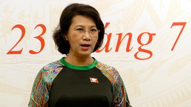 Chủ tịch Quốc hội Nguyễn Thị Kim Ngân chủ trì gặp gỡ phóng viên - Ảnh: LÊ KIÊN