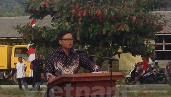 Đại sứ Việt Nam tại Indonesia Hoàng Anh Tuấn phát biểu tại buổi lễ. (Ảnh: Đỗ Quyên/Vietnam+)