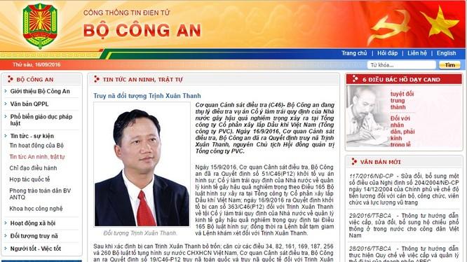 Thông báo truy nã bị can Trịnh Xuân Thanh