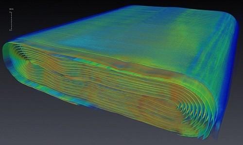 Hình ảnh bên trong viên pin lithium-ion khi rọi bằng tia X. Ảnh: Canadian Light Source.