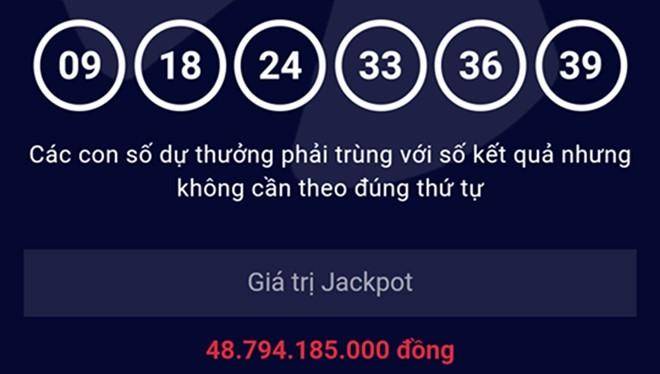 Kết quả mở thưởng kỳ 72 xác định 1 vé trúng giải Jackpot với dãy số may mắn 09-18-24-33-36-39.