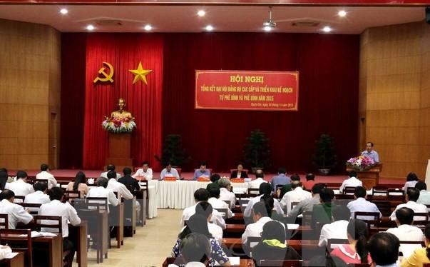 Quang cảnh hội nghị triển khai thực hiện tự phê bình, phê bình trong các cấp ủy và đảng viên. (Ảnh minh họa: Lê Huy Hải/TTXVN)