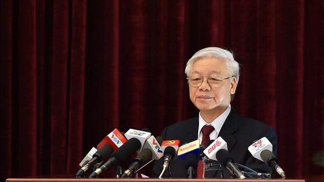 Tổng bí thư Nguyễn Phú Trọng phát biểu bế mạc hội nghị Trung ương 5. Ảnh: Vietnamnet