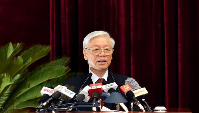 Tổng bí thư Nguyễn Phú Trọng phát biểu bế mạc Hội nghị. Ảnh: VGP